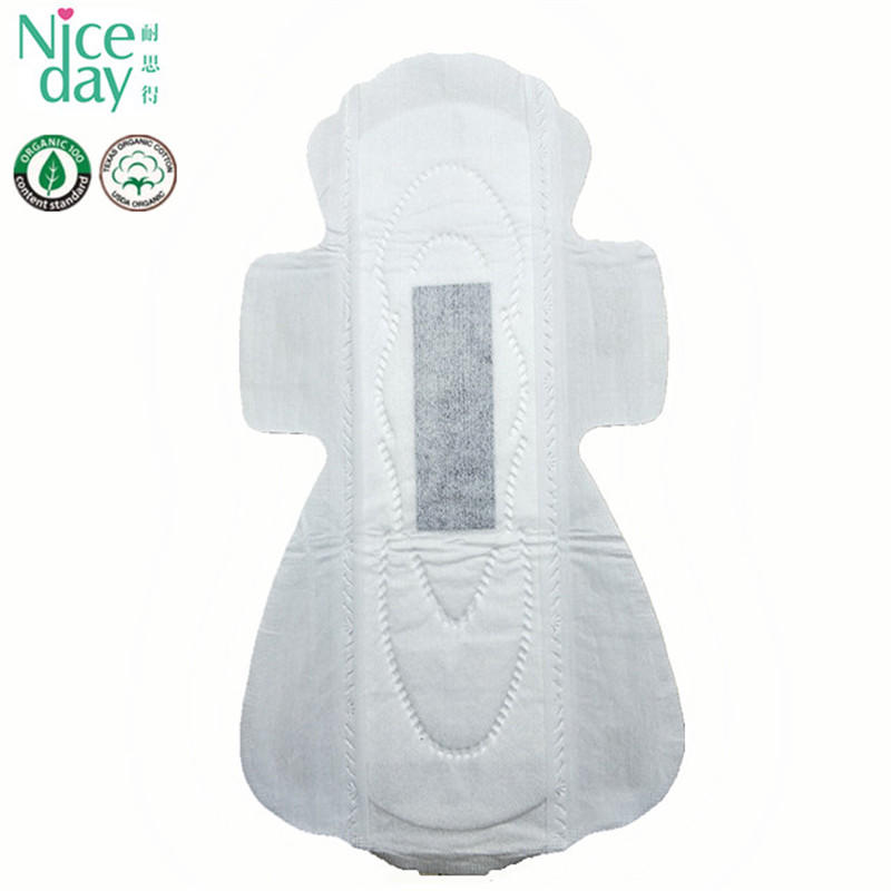 Hot sell fully cotton surface bamboo chip surper absorbtion sanitary napkin ND20161-22-Niceday