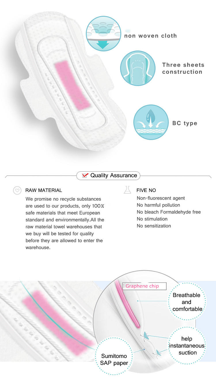 Amazing graphene chip sanitary napkin with high absorbent dry surface soft care female pads ND20191-29-2-Niceday