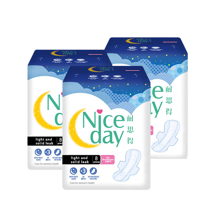 Customized super long  sanitary towel overnight lady care blue chip  sanitary pad with wings export to Tanzania ND20181-27-Niceday