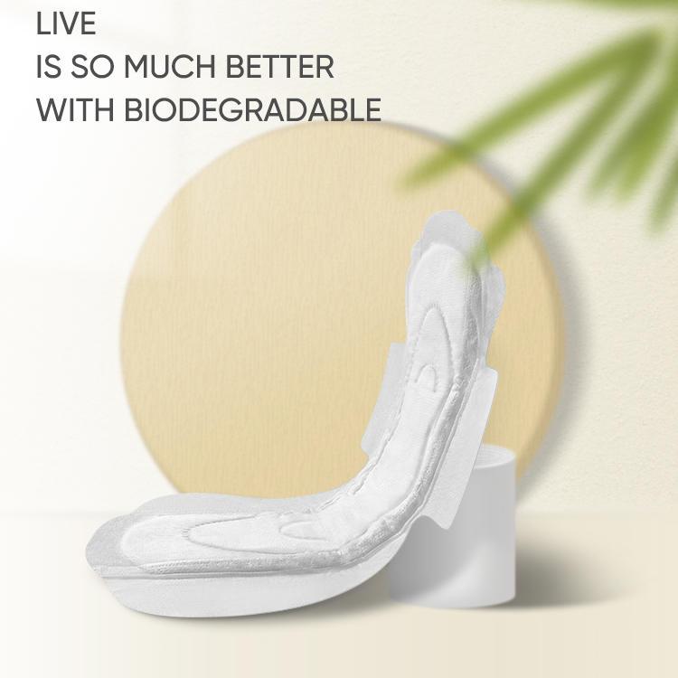 OEM 0% fragrance and chlorine biodegradable organic cotton Menstrual pad NICEDAY-O-3-245
