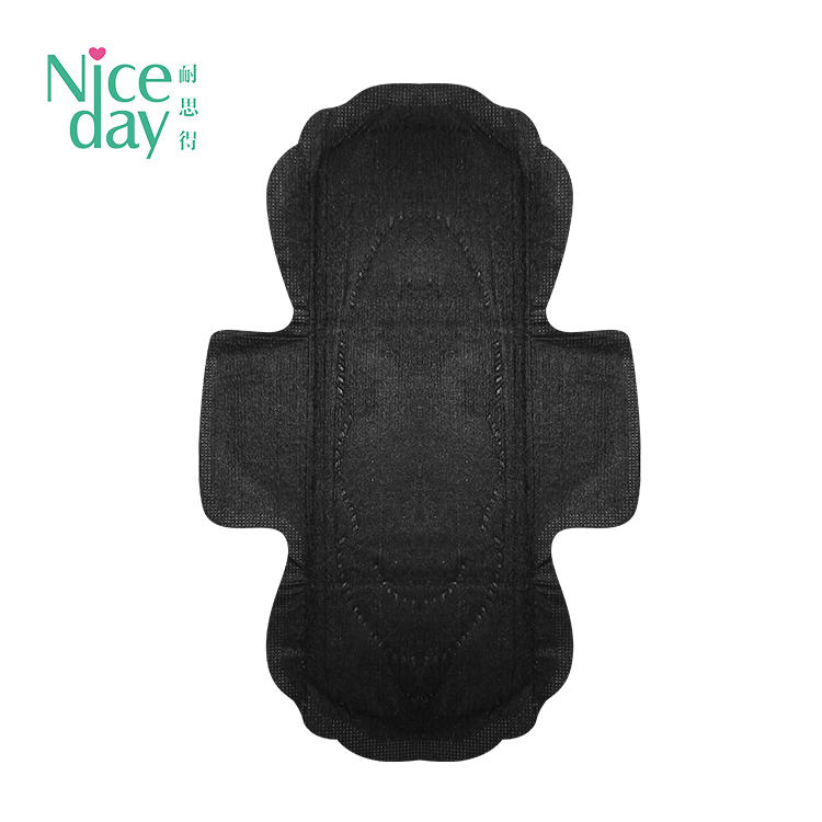 OEM sexy black bamboo charcoal sanitary pads for sensitive skin NICEDAY L-2