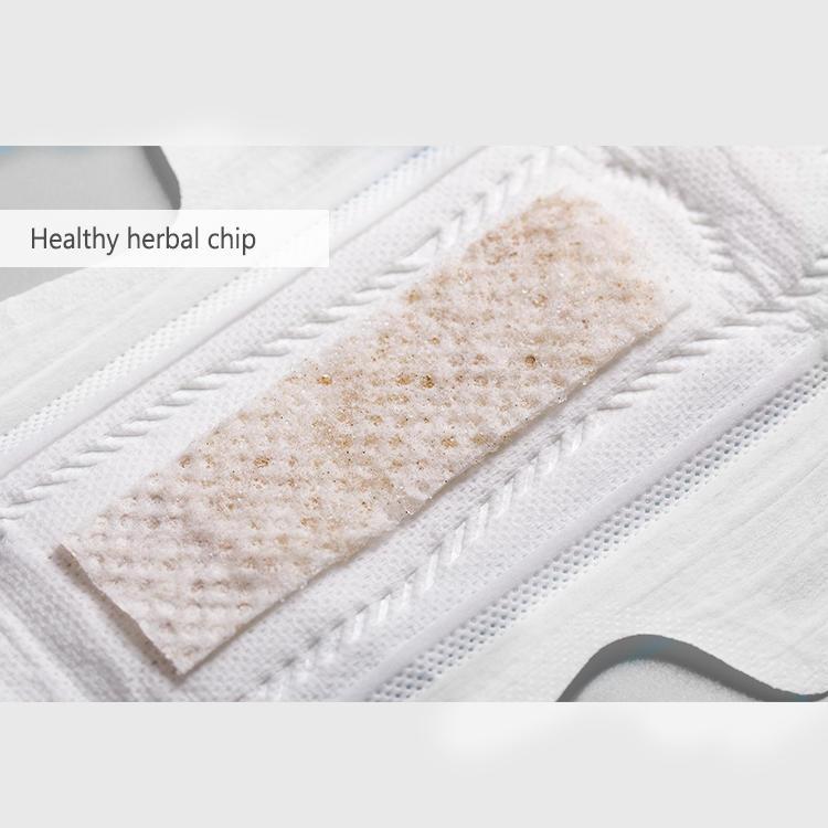 Patent heathy herbal sanitary napkin with hypoallergenic texas organic cotton NICEDAY NDN-7-245