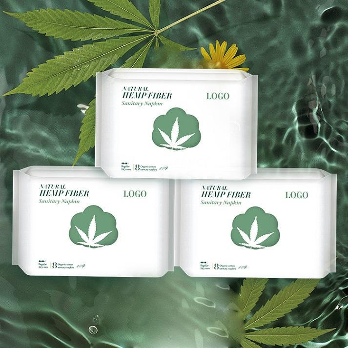 CBD Sanitary Napkin Natural Hemp Sanitary Pads plant-based maternity pads supplier Niceday-L-3-245mm