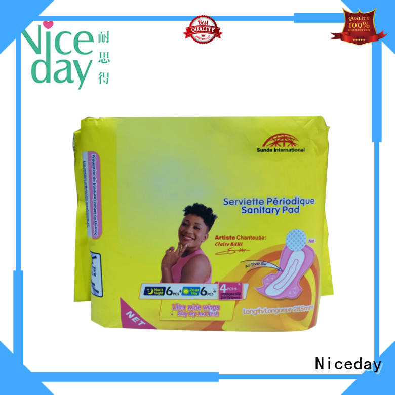 Lady use wood pulp 100% bio nonwoven fabric sanitary napkin for Africa market NDSC-1-3-Niceday